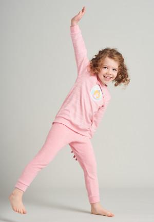 Pigiama lungo in spugna di cotone biologico con polsini e motivo arabeschi di ghiaccio di colore rosa - Princess Lillifee
