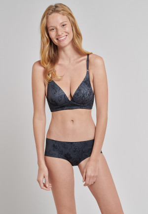 Lounge bra microfiber without clasp racerback floral dark gray - Mix & Relax Lounge