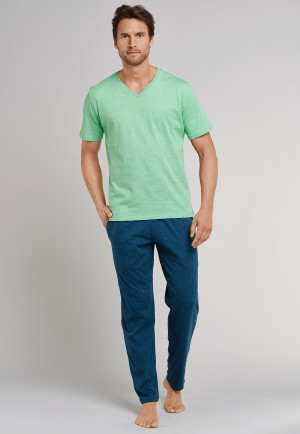 72f3fe2066 Loungehose lang Papageienmuster petrol - Mix+Relax