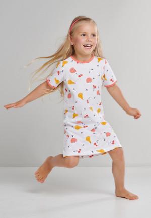 Nachthemd korte mouwen organic cotton vruchten kevers wit - Natural Love
