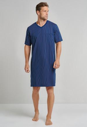 Sleep shirt short-sleeved V-neck stripes admiral blue - Comfort Fit