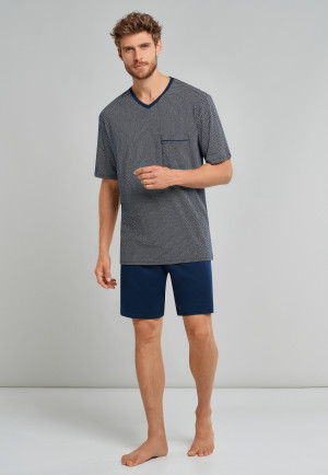 Pyjama court, interlock fin, col V, motif bleu nuit - Comfort Fit