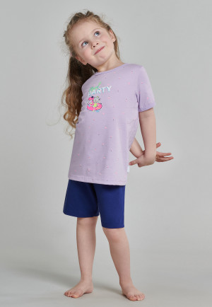 Pajamas short organic cotton cat pool party lilac - Cat Zoe