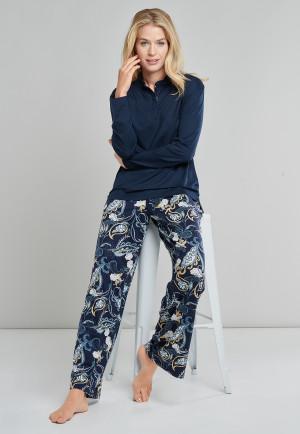 Pyjama lang Tencel knoopsluiting paisley nachtblauw - Feminine Graphic