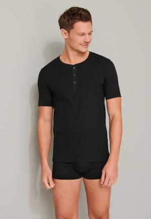 T-shirt manches courtes côtelé coton bio patte de boutonnage noir - Retro Rib