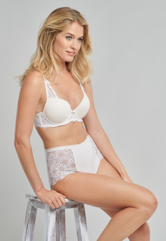 High-waisted panties lace modal cream - Modal and Lace