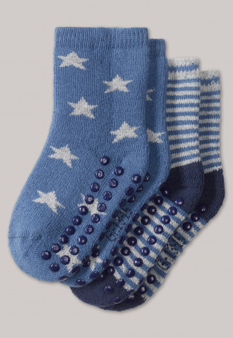 ce94776191925a Baby slipper socks 2-pack stars stripes multi-coloured -Grand Prix