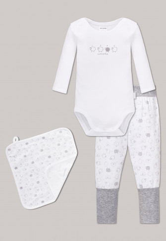 Baby set fine rib 3-part white-grey - Original Classics