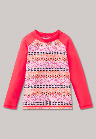 Bade-Shirt langarm LSF40+ Folklore mehrfarbig - Folky Flamingo