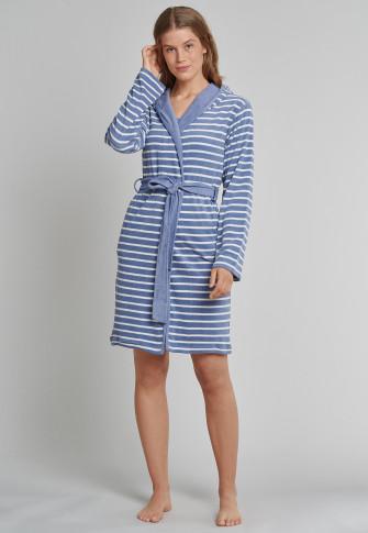 Badjas met kap lichte badstof jeansblauw gestreept - selected! premium