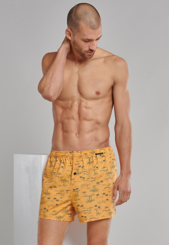 Boxer shorts 2-pack woven fabric palm tree lifebuoy patterned denim blue / yellow - fun prints