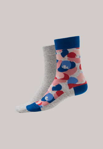 Women's socks 2-pack, multi-colored patterned heather gray- Long Life Cool