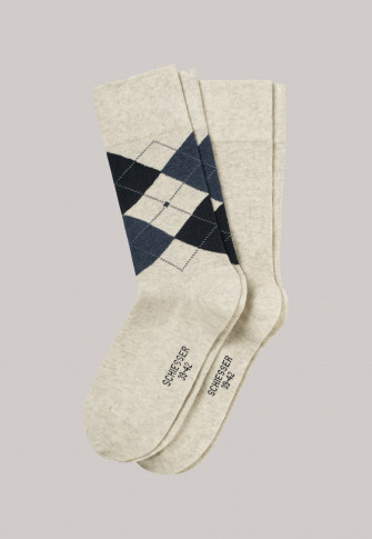 Herrensocken 2er-Pack beige meliert/ Argyle-Karomuster - Cotton Fit