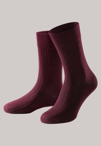 Chaussettes pour homme côtelées en coton mercerisé, bordeaux - selected! premium