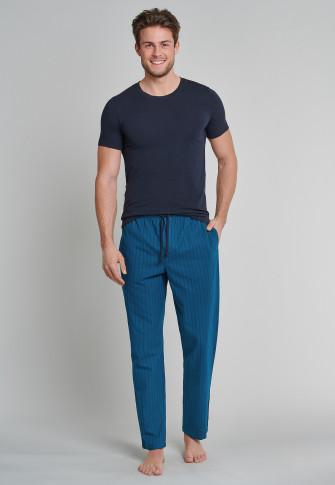 Loungehose lang Flanell Streifen nachtblau - Mix+Relax