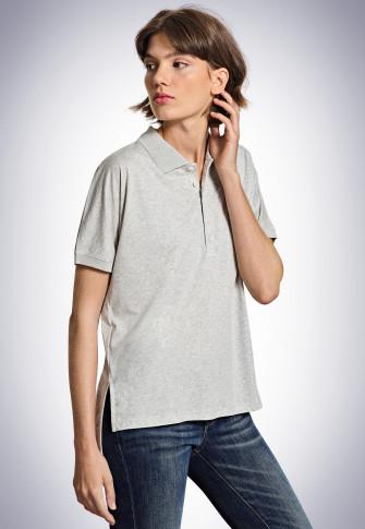 Short-sleeved polo shirt, heather gray - Revival Carla