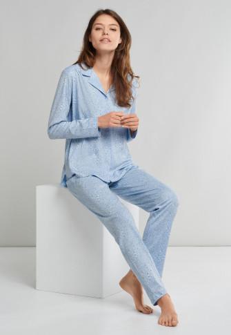 Pyjama lang interlock knoopsluiting lichtblauw - Comfort Fit