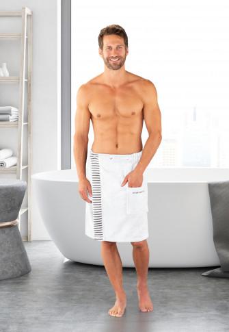 Sauna handdoek met drukknopen 55x150 grote maten wit - SCHIESSER Home