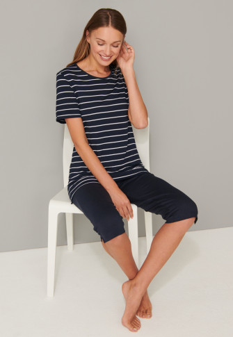 Pajamas 3/4 length stripes midnight blue - Original Classics