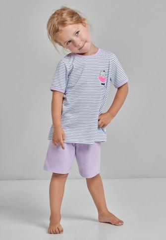 pyjama kort biokatoen streepjes kat watermeloen lila/munt - Cat Zoe