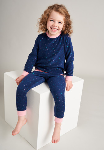 Schlafanzug lang Frottee Bündchen Sterne dunkelblau - Girls World