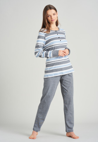 Pyjama long patte de boutonnage rayures bleu clair - Sportive Stripes