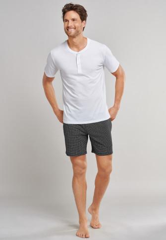 Shirt kurzarm Jersey Knopfleiste weiß - Mix+Relax