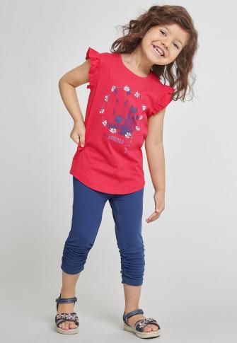Shirt kurzarm Pferde rot bedruckt - Cool Casual
