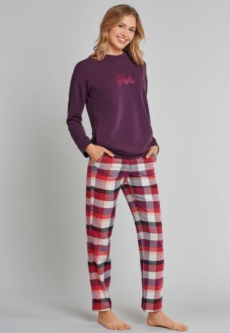 Shirt lange mouwen tencel print lila-pruim - Mix+Relax