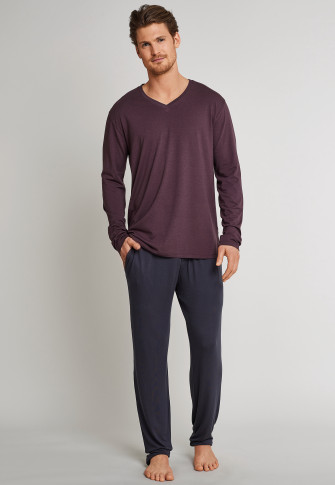 278abbe1cc06d tee-shirt manches longues col V rouge-brun - Mix & Relax Cotton Modal
