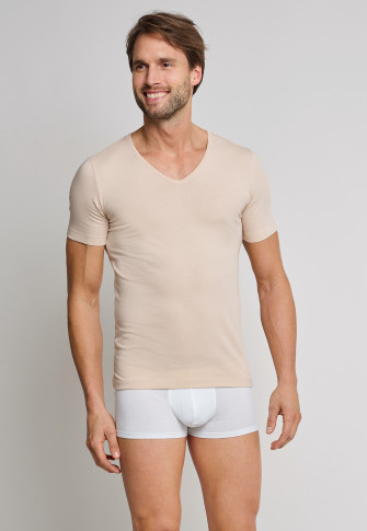 0b098e72d8 Short-sleeved shirt 2-pack low V-neck nude - 95 5