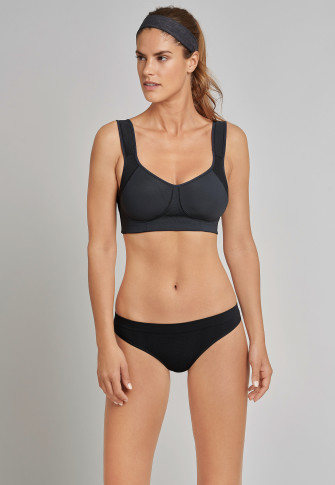 Sport-BH gemodelte Cups bügellos High Support schwarz - Active