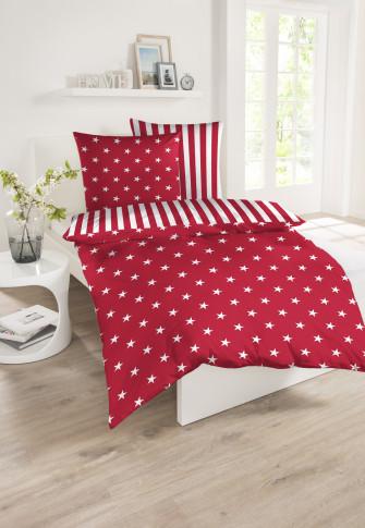 Wende-Bettwäsche 2-teilig Feinbiber Sterne Streifen rot-weiß - SCHIESSER Home