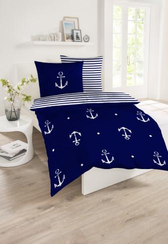 Parure de lit réversible 2 pièces Renforcé ancre bleu-blanc - SCHIESSER Home