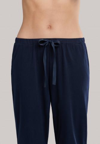 Schlafanzug 3/4-lang Modal Lochstickerei nachtblau - Organic Cotton