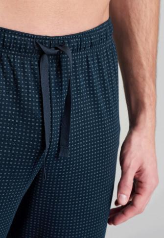 Lange pyjama, fijne interlock, V-hals, donkergroen patroon - Fine interlock