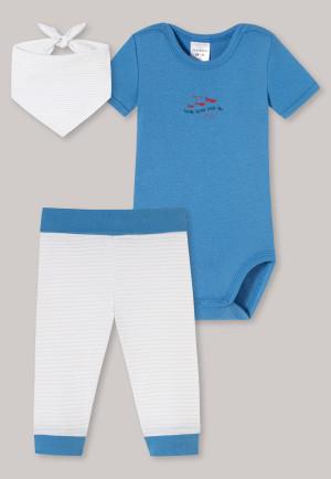 Baby Set 3-teilig Feinripp Organic Cotton Kurzarmbody Hose Halstuch Fische weiß/blau - Natural Love