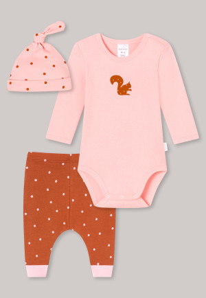 Ensemble bébé 3 pièces avec body à manches longues, pantalon, bonnet en coton bio côtelé pois écureuil rose/marron - Natural Love