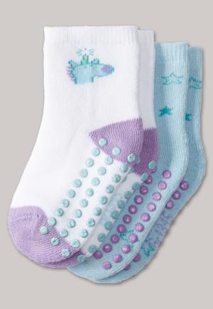Lot de 2 paires de socquettes pour bébé étoiles multicolores - licorne