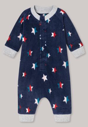 Tuta lunga per bebè in pile con polsini, abbottonatura e motivo con stelle di colore blu scuro - BabyUnisex