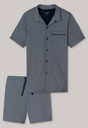 Pyjama court,interlok fin, patte de boutonnage motif bleu nuit - Timeless