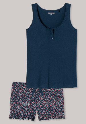 Pyjama court patte de boutonnage bleu pétrole - Good Night Story