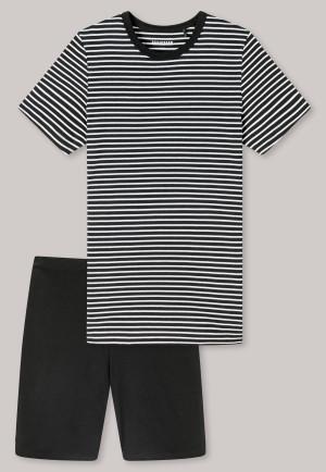Pigiama corto in cotone biologico a righe nero - Nightwear