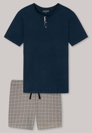 Short pajamas with Serafino collar, midnight blue checked pattern - Timeless