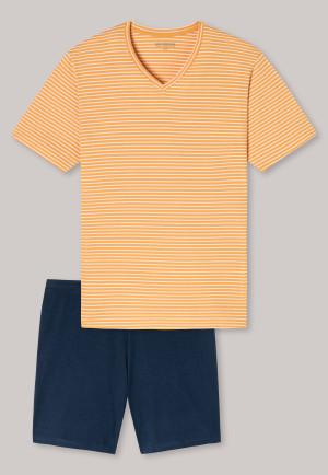 Pyjama court encolure en V rayures curry - sélectionné ! Inspiration premium