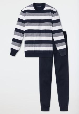 Pyjama long avec un haut à rayures bleues foncées et blanches - Dark Sapphire