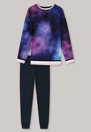 Pyjama lang biologisch katoen manchetten  strepen antraciet - Cosmic