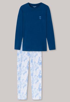 Pajamas long organic cotton clouds dark blue - Natural Love