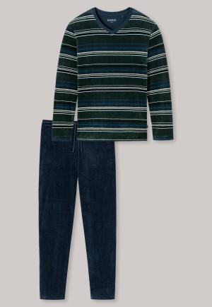 Lange pyjama velours V-halslijn strepen donkergroen – Warming Nightwear
