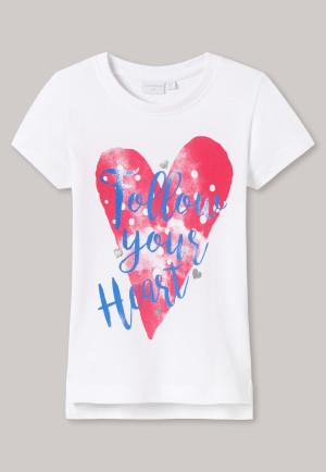 Shirt korte mouw hartje wit bedrukt - Cool Casual